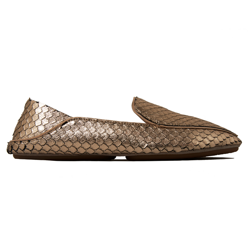 yosi samra platino gold slivered snake leather loafer