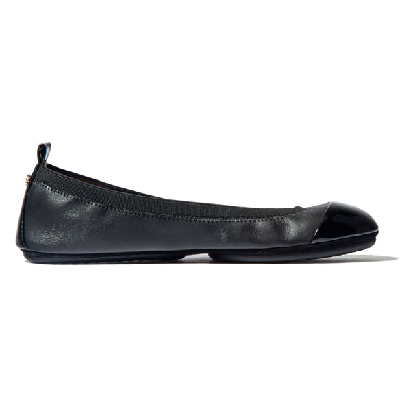 yosi samra black leather cap toe ballet flat