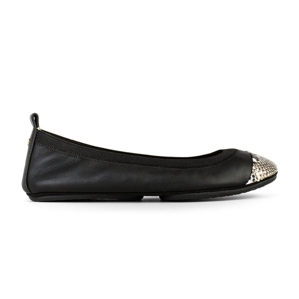 Yosi Samara Black White Ivory Leather Snake Cap Toe Ballet Flat