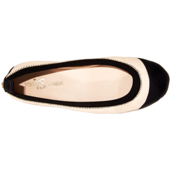 yosi samra nude black leather cap toe ballet flat