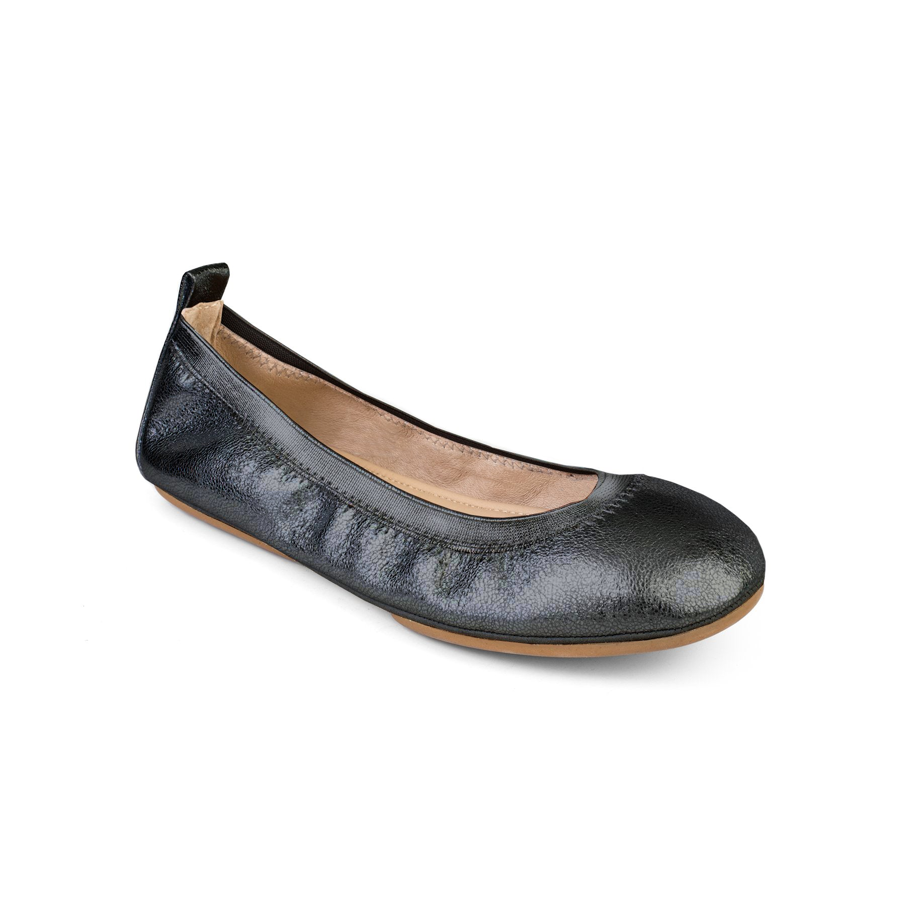 yosi samra pewter textured metallic leather ballet flat