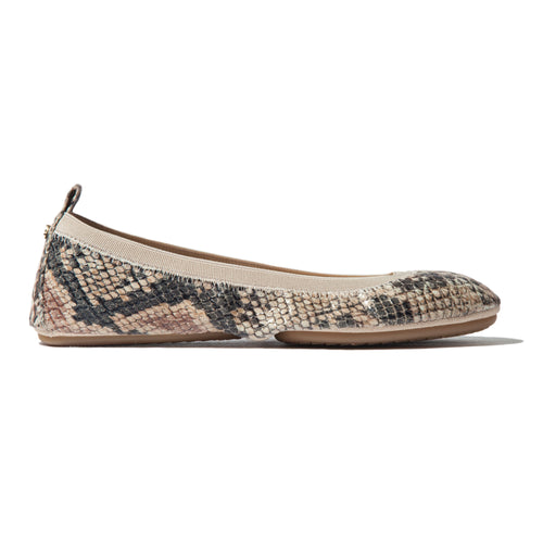 Samara 2.0 Beige Serpent Leather Ballet Flat