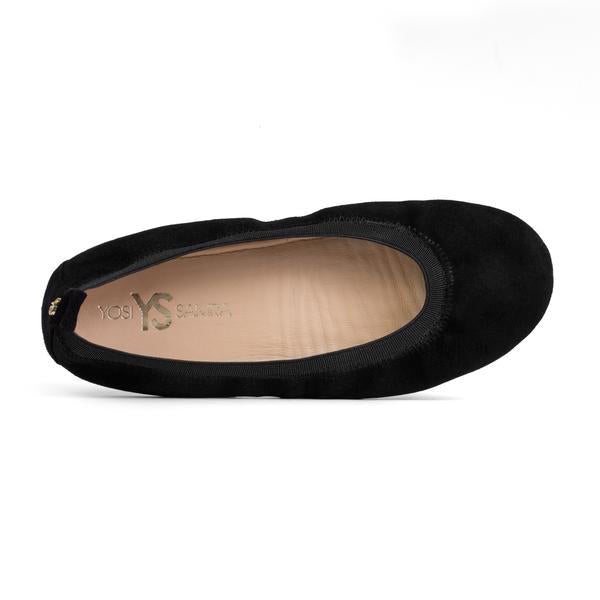 yosi samra black suede leather ballet flat