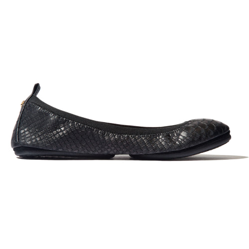 Yosi Samra Black Python Snake Leather Ballet Flat