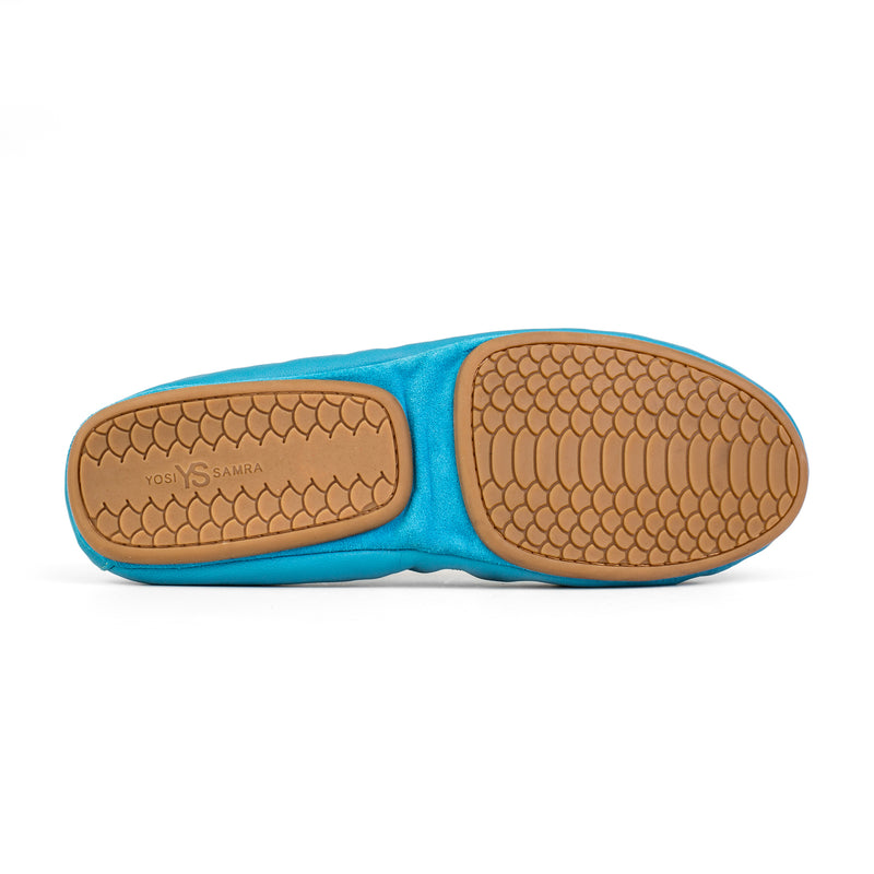 yosi samra lagoon blue teal leather ballet flat