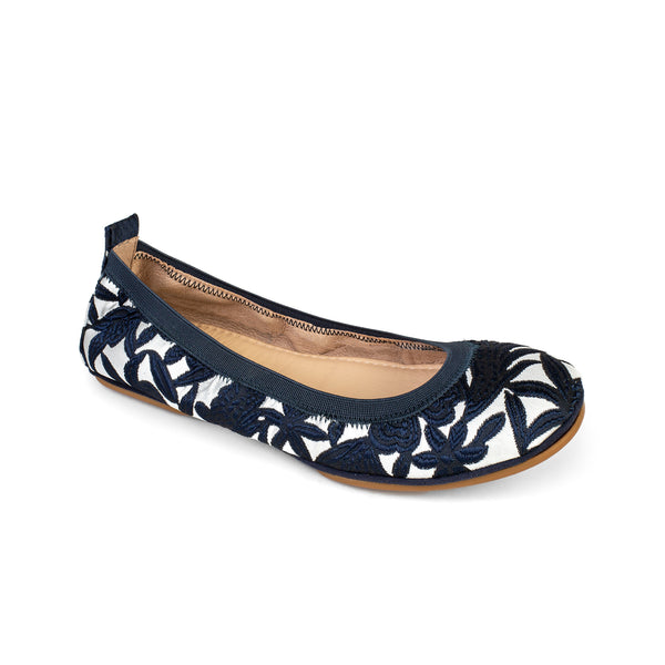 Yosi Samra Blue Navy Silver Embroidered Ballet Flat
