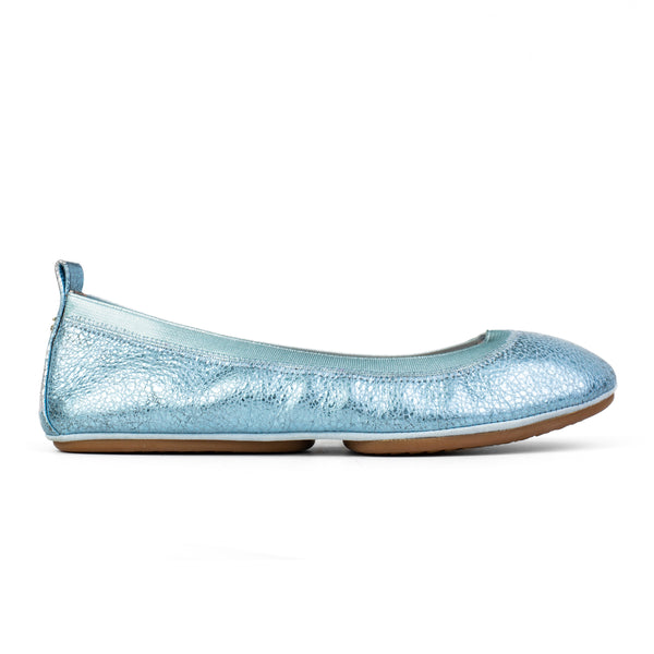 Samara Light Blue Speckled Leather Ballet Flat
