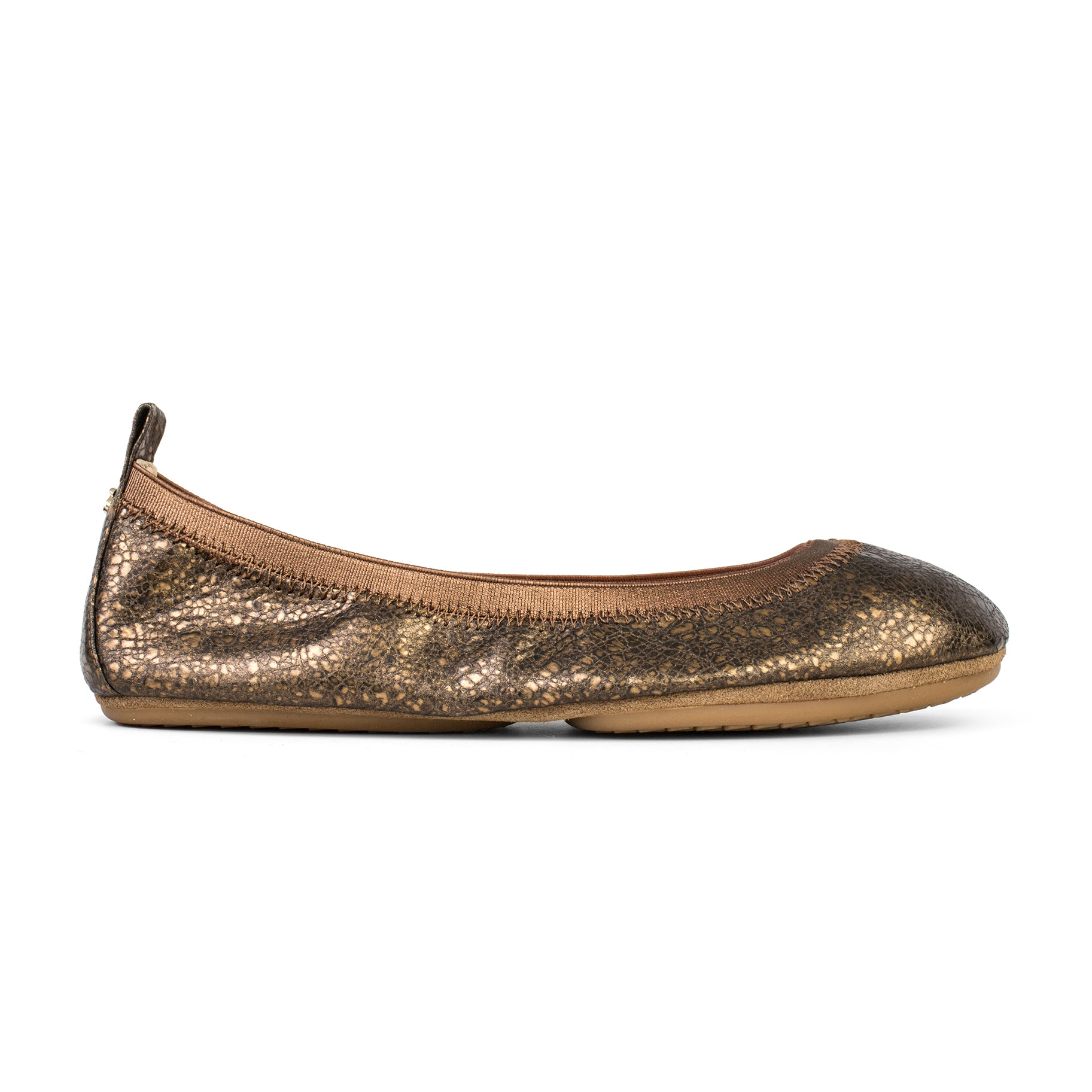 yosi samra bronze muted metallic leather ballet flat