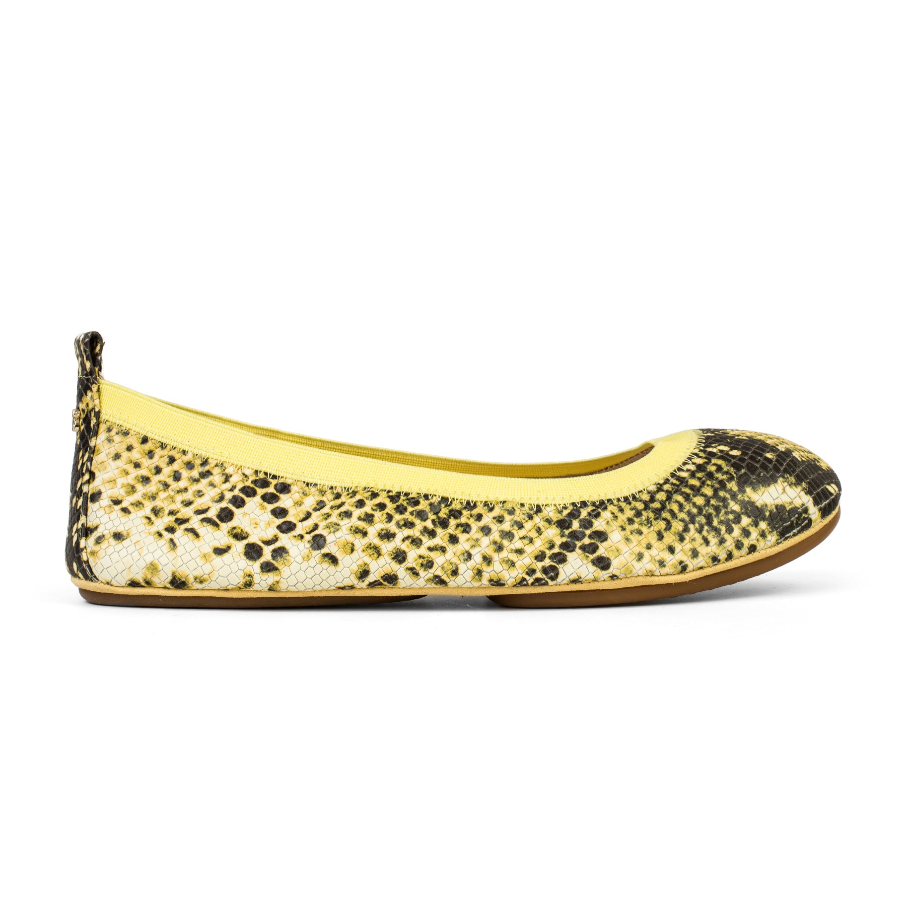 Yosi Samra Yellow Snake Print Leather Ballet Flat