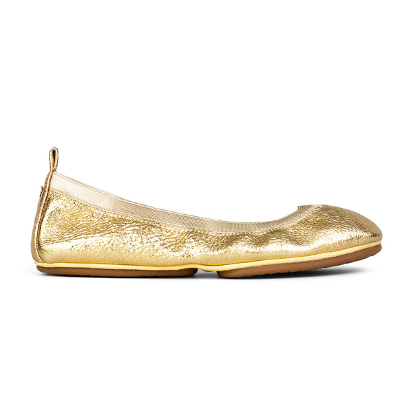 Yosi Samra Gold Textured metallic leather ballet flat
