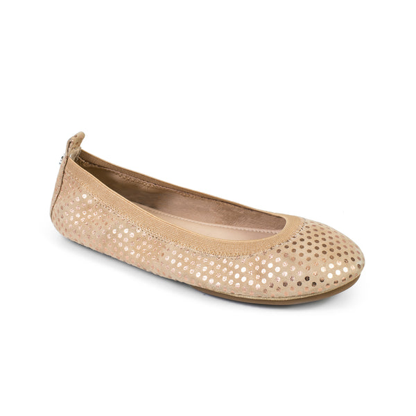 yosi samra latte tan dotted suede leather ballet flat