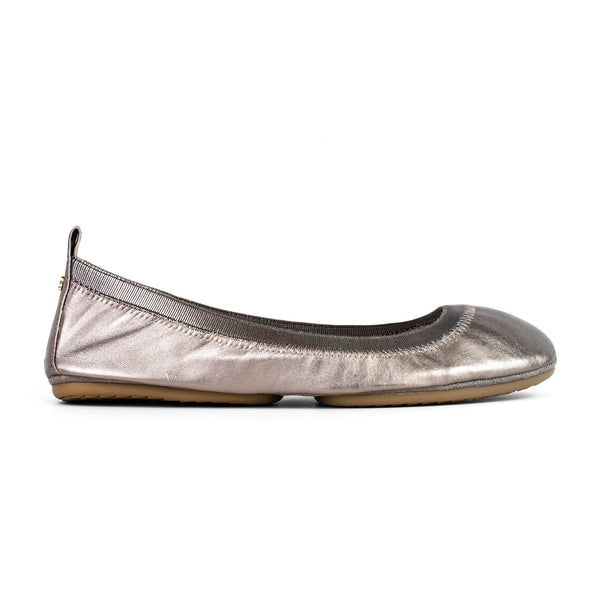Yosi Samra Patent Leather Bendable Ballet Flat with Gold Chunky Glitter Bow