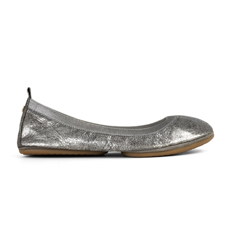Yosi Samra Muted Pewter Metallic Leather Ballet Flat