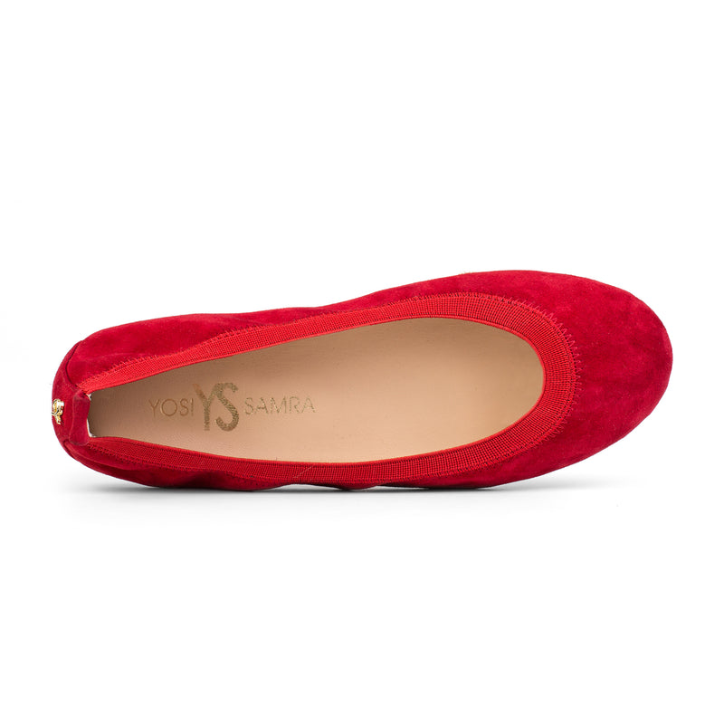 yosi samra red suede leather ballet flat