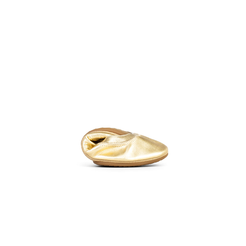 yosi samra gold metallic leather ballet flat