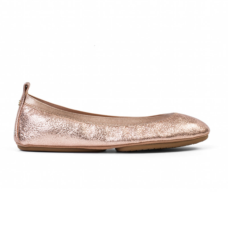 yosi samra rose gold scoop textured metallic leather ballet flat