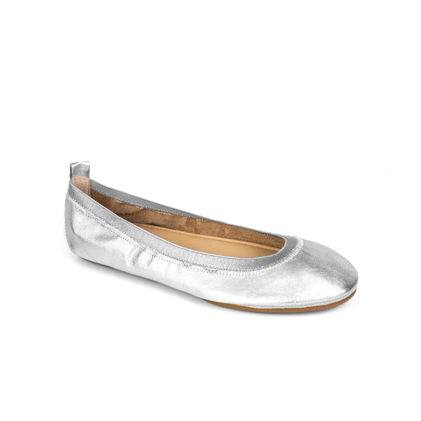 yosi samra silver metallic leather ballet flat foldable