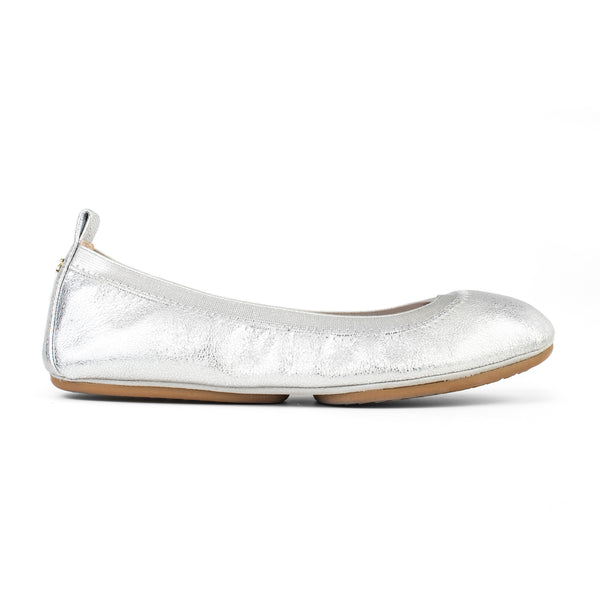 yosi samra silver textured metallic leather ballet flat