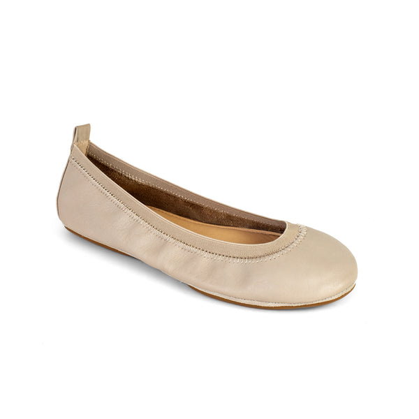 Yosi Samra Simply Taupe Leather Ballet Flat