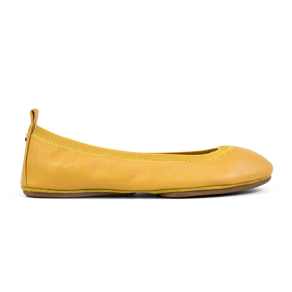 yosi samra yellow sunflower leather foldable ballet flat