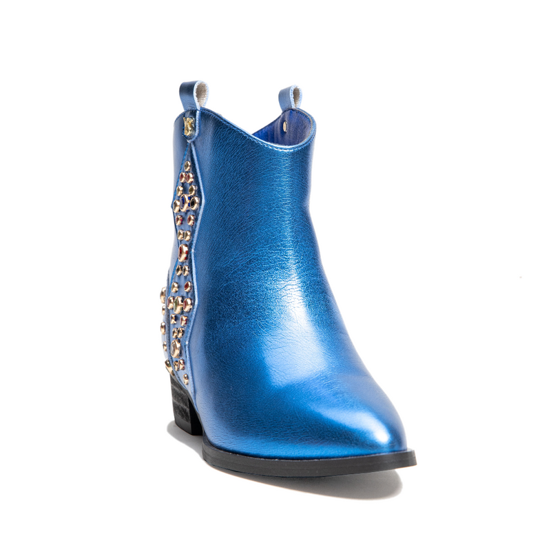 Miss Dallas Blue Metallic Multi Gem Studded Bootie - Children's