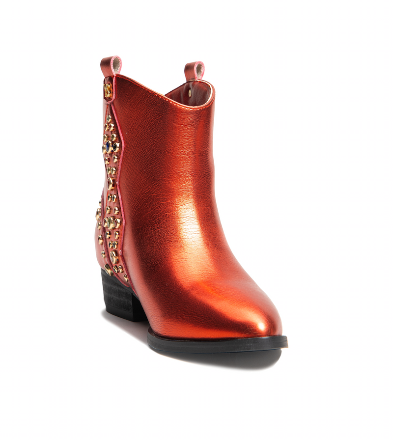 Miss Dallas Red Metallic Multi Gem Studded Bootie - Children's