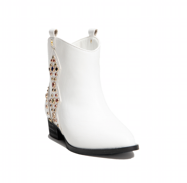 Miss Dallas White Multi Gem Studded Bootie - Children's
