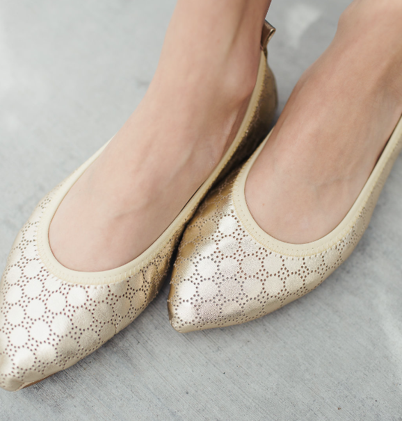 Vienna Gold Metallic Perforated Leather Ballet Flat