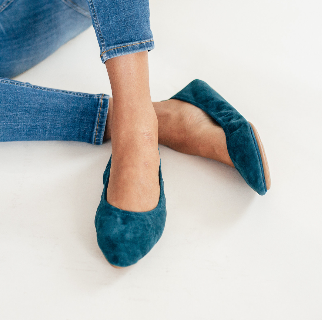 Yosi samra teal suede leather ballet flat pointed
