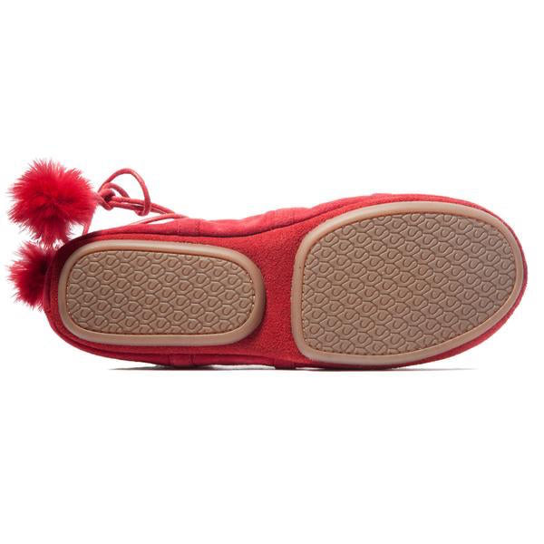 yosi samra red suede ballet flat with ankle tie up foldable