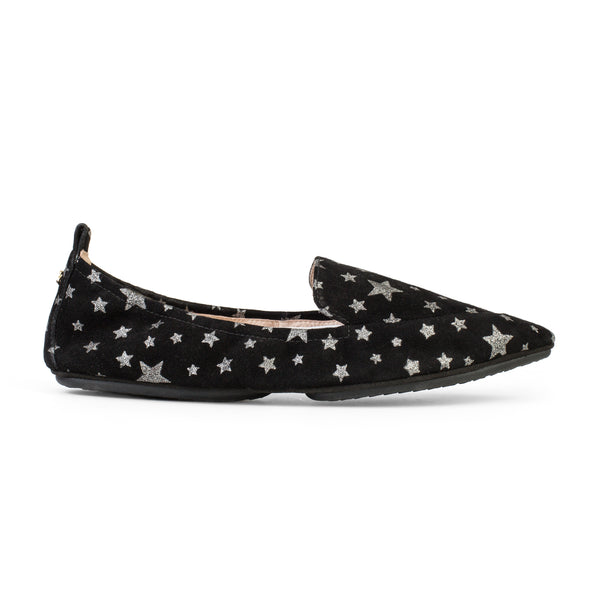Yosi Samra Black Star Print Suede Loafer