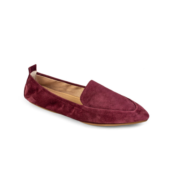 skyler garnet red burgundy suede leather loafer