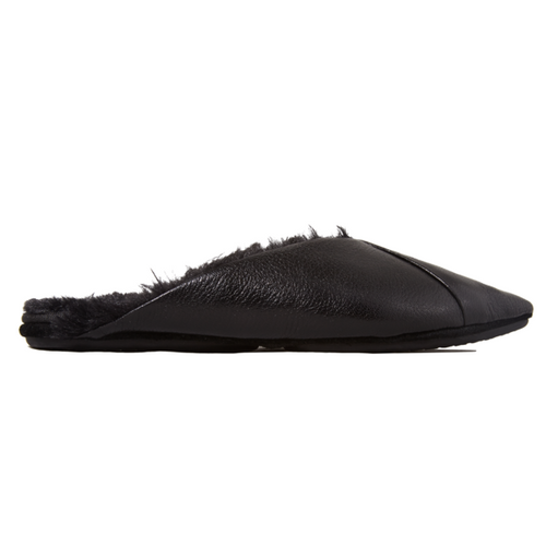 yosi samra black leather mule with fur