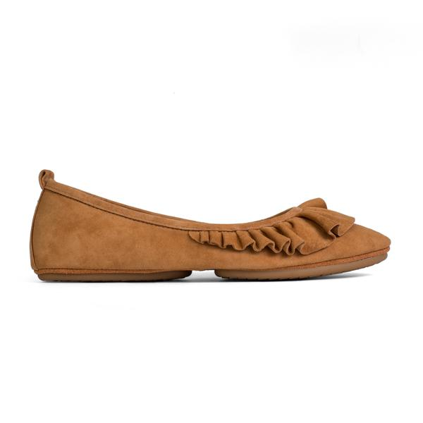 yosi samra bone brown suede leather ruffled pointed flat