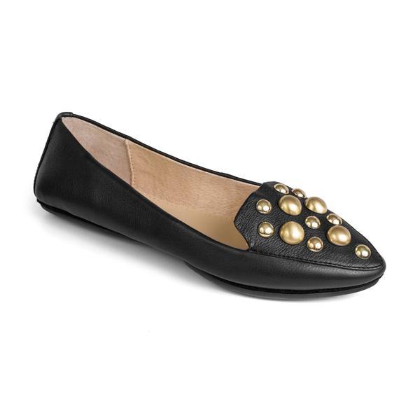 yosi samra black leather loafer with gold pearl studs