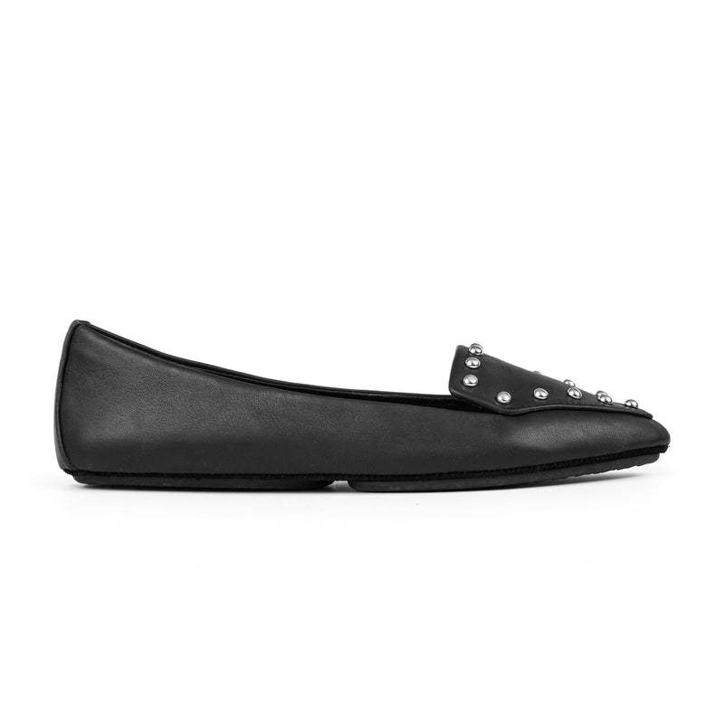 yosi samra black leather loafer with silver studs
