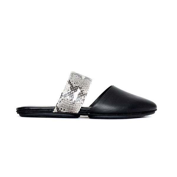 yosi samra black ivory snake leather mule