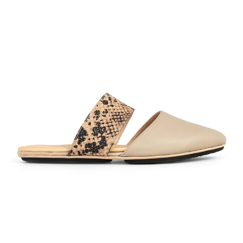 Yosi Samra Simply Taupe Leather and Snake Mule