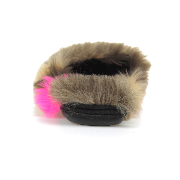 Vidi Grey Fuschia Fur Mule