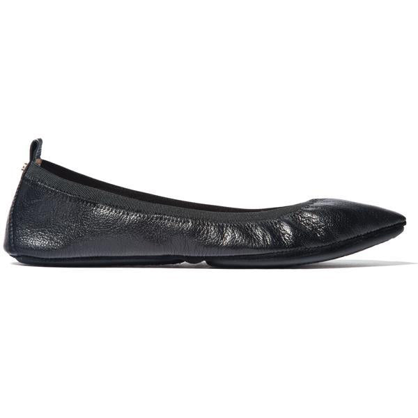yosi samra black leather ballet flat pointed foldable
