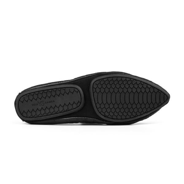 yosi samra black perforated leather ballet flat pointed foldable