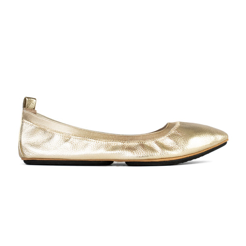 yosi samra gold metallic leather pointed ballet flat