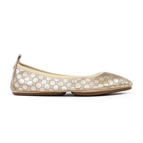 yosi samra gold metallic perforated leather ballet flat pointed foldable