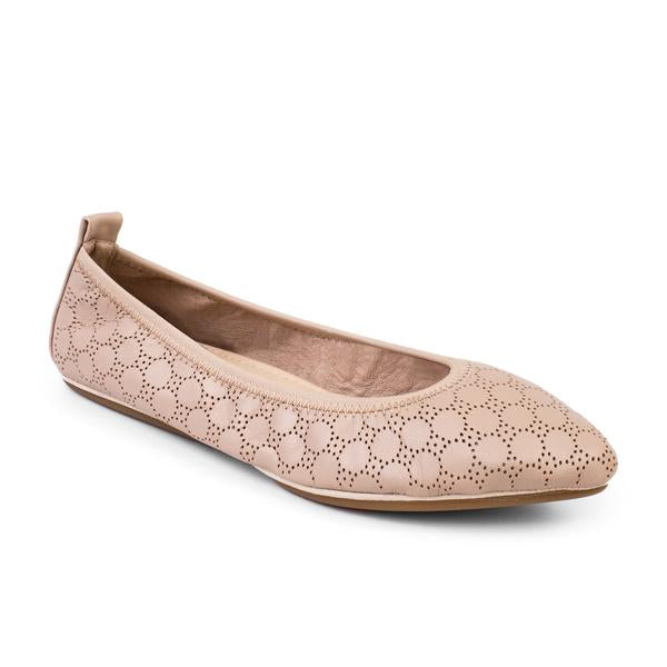 Vienna Nude Perforated Leather Pointed Ballet Flat