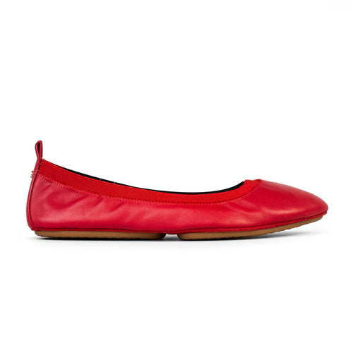 yosi samra red agate leather pointed ballet flat