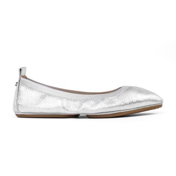 yosi samra silver metallic leather ballet flat pointed foldable