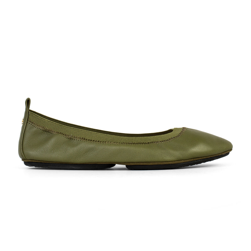 yosi samra green olive leather ballet flat pointed foldable