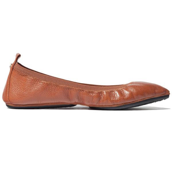 yosi samra whiskey brown leather ballet flat pointed foldable