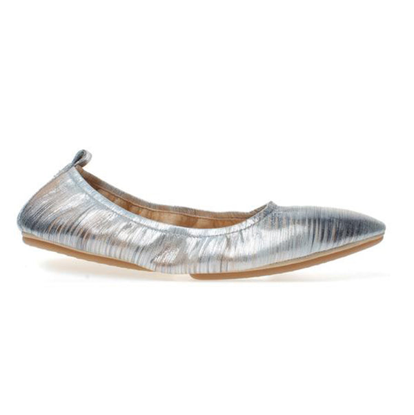 yosi samra silver metallic noise leather ballet flat pointed foldable