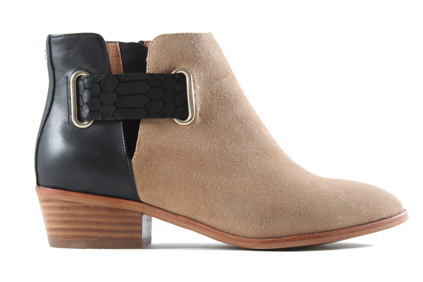 Drew Latte/Black Ankle Bootie